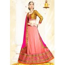 Festival Wear Pink & Gold Silk Lehenga Choli - 75997