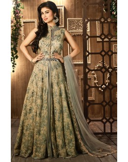 Moni Ray Brown Net Embroidered Anarkali Suit - 76021