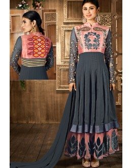 Moni Ray Grey Georgette Anarkali Suit - 76022