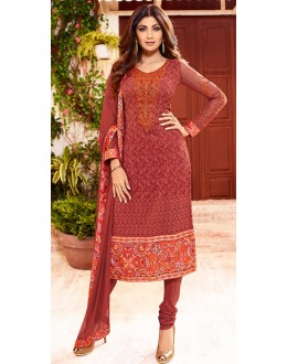 Shilpa Shett In Red Georgette Salwar Suit  - 76054