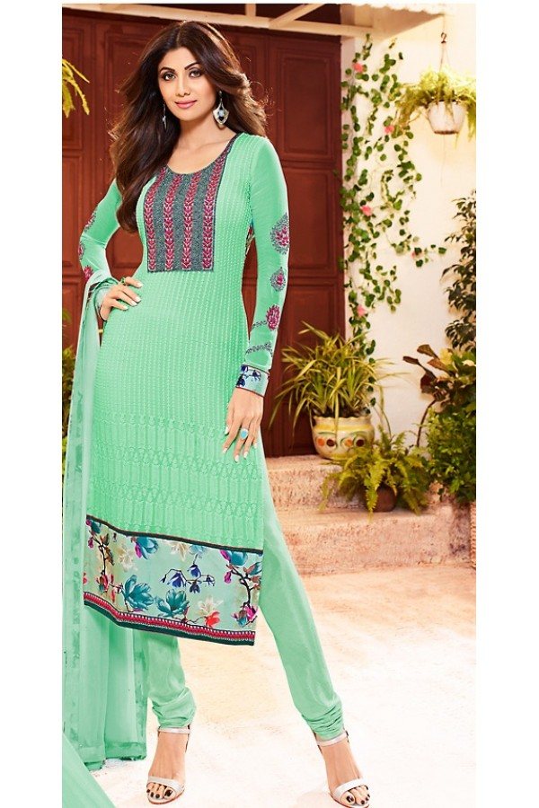 Shilpa Shetty In Turquoise Georgette Salwar Suit  - 76062