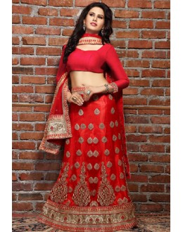Traditional Red Net Embroidered Lehenga Choli - 76208