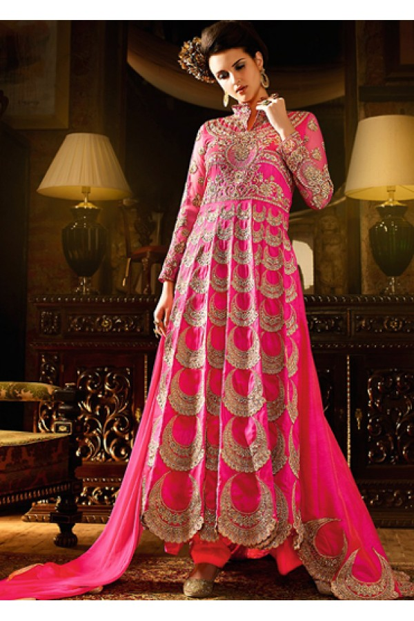 Ethnic Wear Pink Silk Embroidered Anarkali Suit - 76288