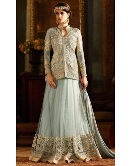 Designer Grey Net Embroidered Lehenga Suit - 76289