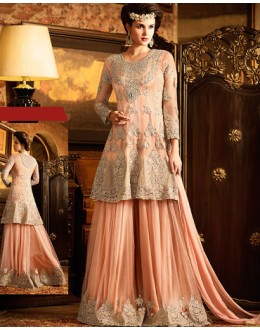 Festival Wear Orange Net Embroidered Palazzo Suit - 76290