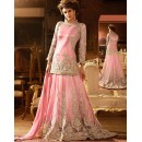 Designer Pink Net Embroidered Lehenga Suit - 76292