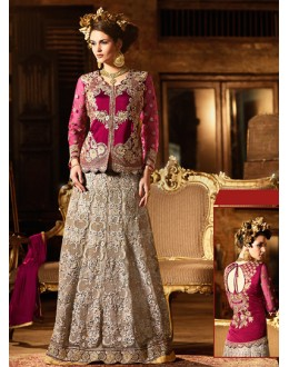 Festival Violet Silk Embroidered Lehenga Suit - 76295