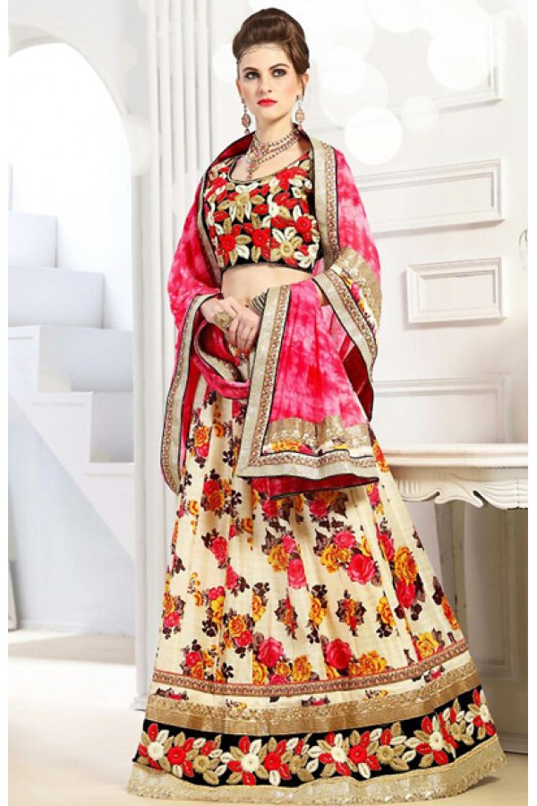 Ethnic Wear Cream & Pink Silk Lehenga Choli - 76299
