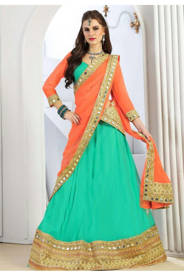 Festival Wear Turquoise & Orange Chiffon Lehenga Choli - 76300