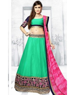 Festival Wear Green & Pink Silk Lehenga Choli - 76303