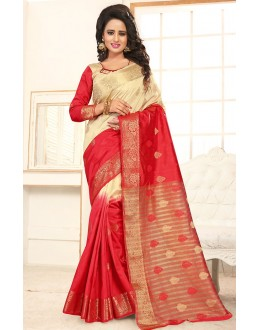 Ethnic Wear Red & Beige Banarasi Silk  Saree  - 76304