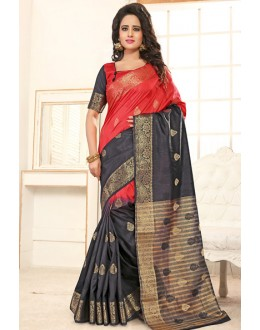 Party Wear Red & Grey Banarasi Silk  Saree  - 76306