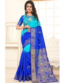 Party Wear Sky Blue Banarasi Silk  Saree  - 76308