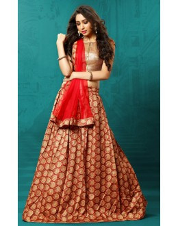 Festival Wear Red & Beige Art Silk Lehenga Choli - 76312