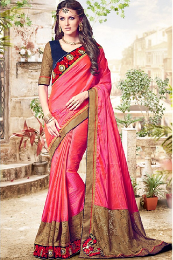 Ethnic Wear Pink & Navy Blue Silk Saree  - 76492