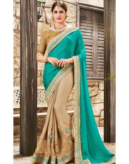Festival Wear Turquoise & Brown Satin Saree  - 76493