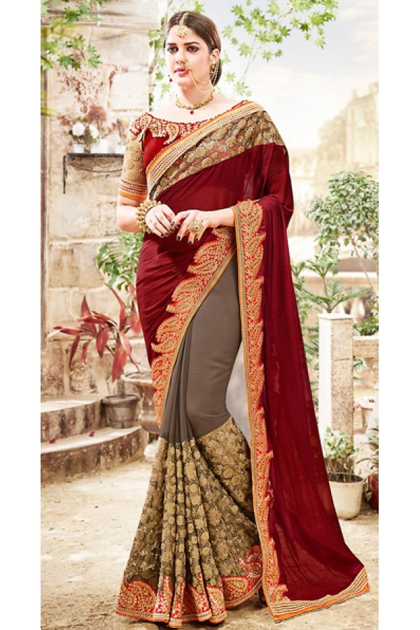 Festival Wear Maroon & Grey Georgette Saree  - 76495
