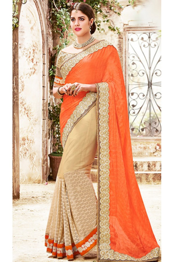 Designer Orange & Beige Chiffon Saree  - 76496