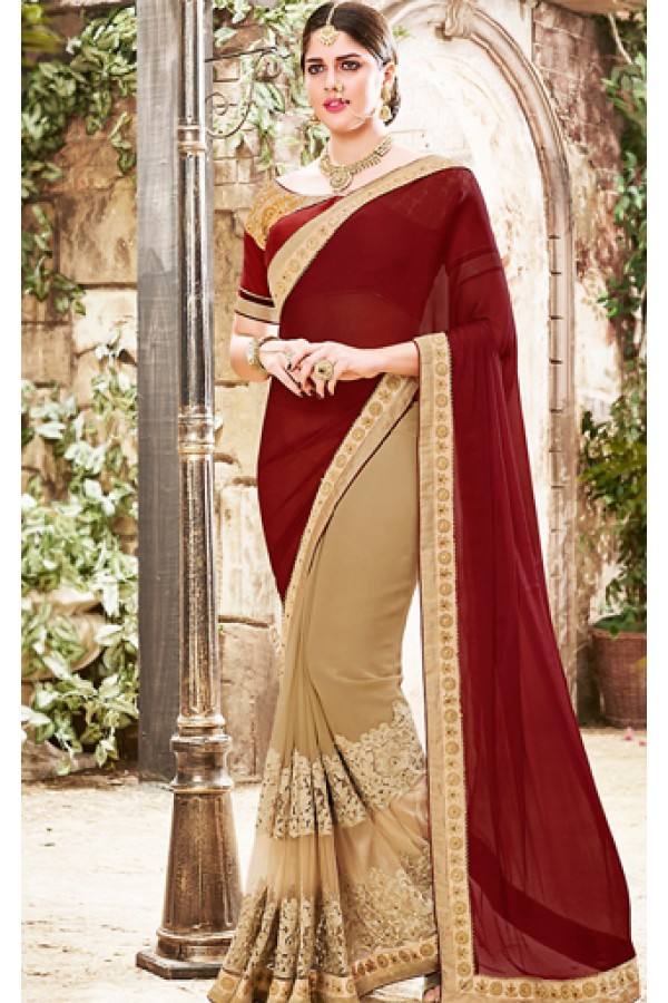 Festival Wear Maroon & Brown Georgette Saree  - 76498