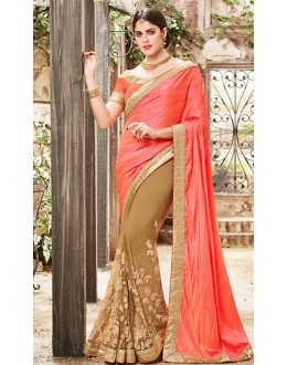 Party Wear Orange & Brown Silk Saree  - 76501
