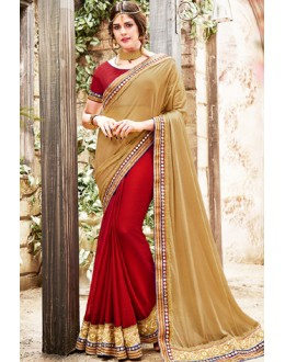 Party Wear Brown & Red Jacquard Saree  - 76503