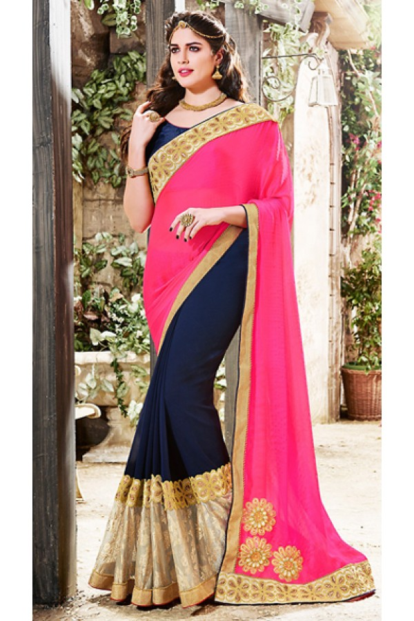 Ethnic Wear Pink & Navy Blue Silk Saree  - 76506