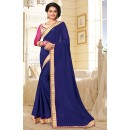 Party Wear Blue & Beige Georgette Saree  - 76661