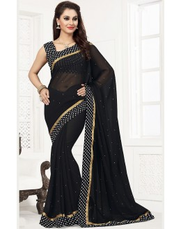 Party Wear Black Georgette Saree  - 76743
