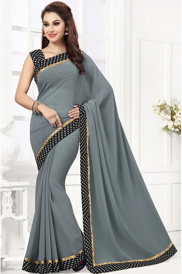 Party Wear Grey & Black Georgette Saree  - 76745