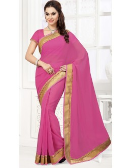 Party Wear Pink Georgette Saree  - 76747