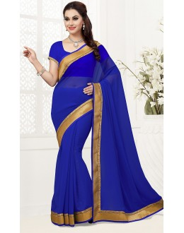 Ethnic Wear Blue Georgette Saree  - 76749