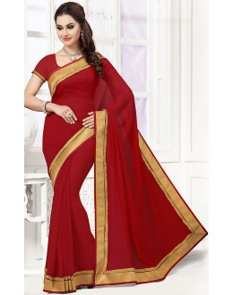 Ethnic Wear Maroon Georgette Saree  - 76750
