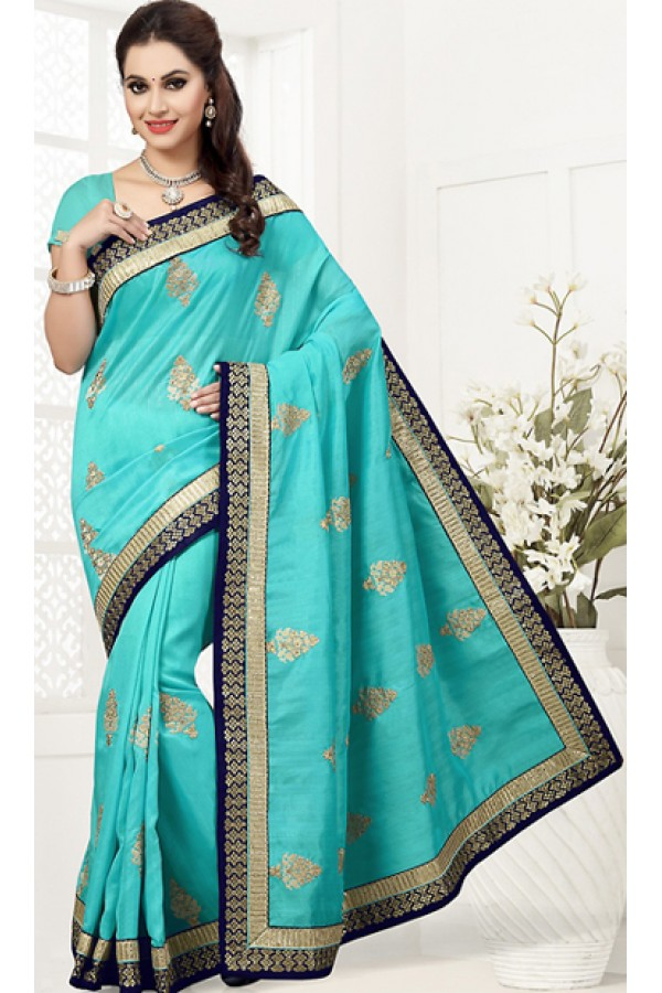 Ethnic Wear Turquoise Bhagalpuri Silk Saree  - 76754