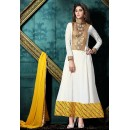 Festival Wear White & Yellow Crepe Silk Anarkali Suit - 76863