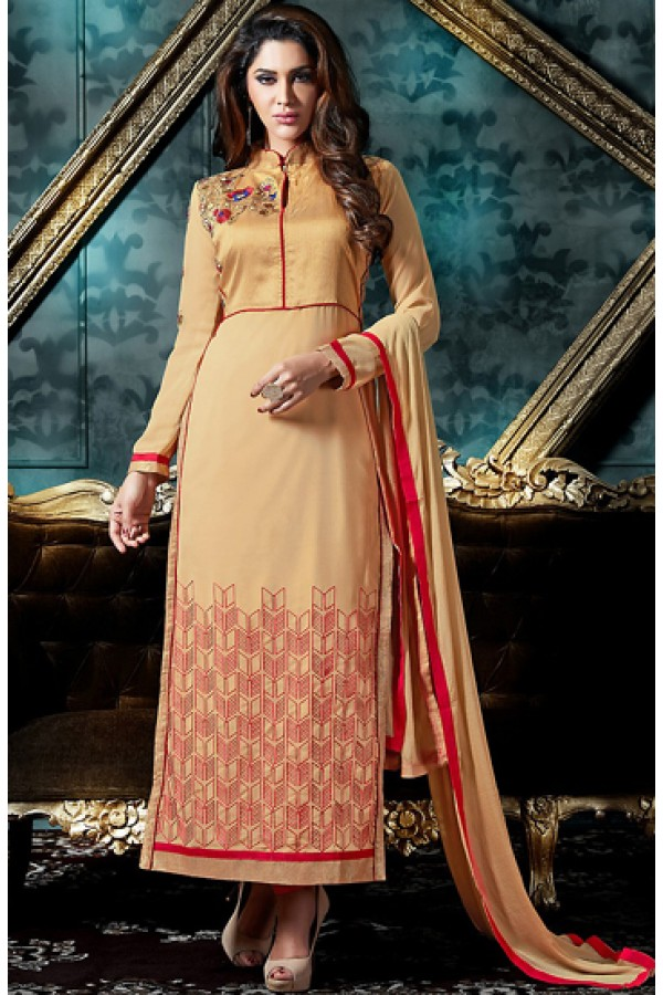 Festival Wear Beige & Red Georgette Salwar Suit - 76864