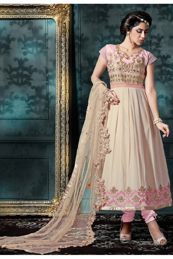 Festival Wear Pink & Beige Georgette Anarkali Suit - 76867
