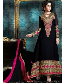 Party Wear Black & Pink Georgette Anarkali Suit - 76868