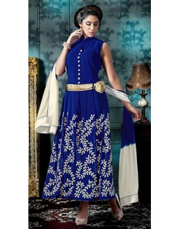 Ethnic Wear Blue & White Georgette Anarkali Suit - 76869