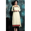 Ethnic Wear Off White & Black Georgette Salwar Suit - 76870