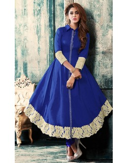 Festival Wear Blue Cotton Anarkali Suit - 76876