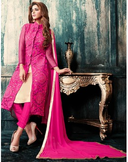 Party Wear Pink Georgette Salwar Suit - 76878