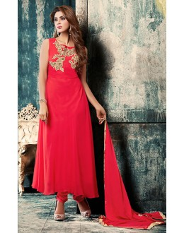 Party Wear Red Georgette Anarkali Suit - 76879