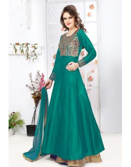 Party Wear Green & Brown Net Lehenga Suit - 76894