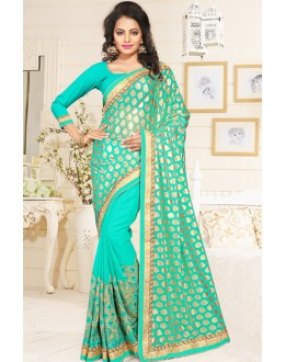 Festival Wear Turquoise Georgette Saree  - 76897