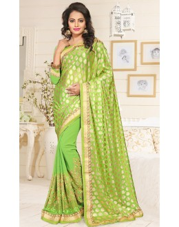 Party Wear Green Georgette Saree  - 76898