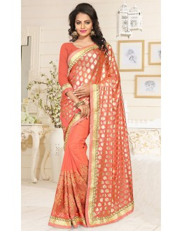 Ethnic Wear Orange Georgette Saree  - 76899