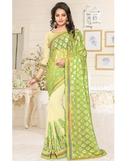 Party Wear Green & Beige Georgette Saree  - 76901