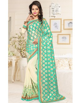 Party Wear Turquoise & Cream Georgette Saree  - 76902