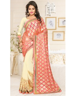 Party Wear Pink & Cream Georgette Saree  - 76903