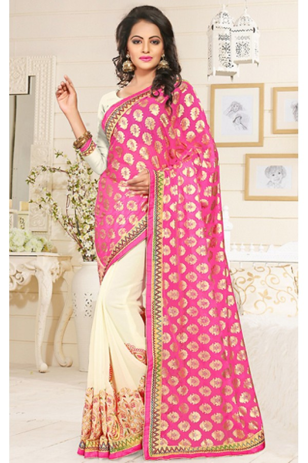 Festival Wear Pink & Beige Georgette Saree  - 76904